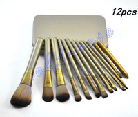 Wholesale Iron Pieces Wholesale - Makeup Tools Brushes Nude 12 piece Professional Brush sets Iron box+gift