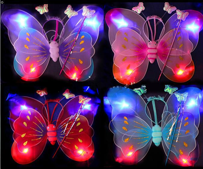 Gratis EMS 50 uppsättningar LED Flash glöd två lager Fairy Wings Set vinge, huvudband, trollstav Butterfly Wing med ljus KTV Disco Kids julklapp