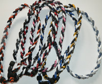 "Wholesale Size Titanium Baseball Necklaces - 2016 titanium necklace 3 rope necklace tornado sports braided baseball softball soccer necklace size 16"" 18"" 20"" 22"""