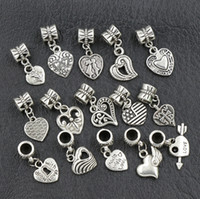 Wholesale European Beads Dangle Charm - 2017 150pcs lot Antiqued Silver Assorted Heart Dangles Beads Fit European Charm Bracelet Jewelry DIY Metal