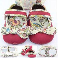 Wholesale Wholesale Mary Janes - 2014 Newborn Baby Kids Cotton Mary Janes Flat Soft Sole Shoes Girls Princess Prewalker Babe Shoes Print Big Bow Dress Shoes