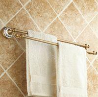 Wholesale Bathroom Hangers Towels - Classic Antique Brass Bathroom Towel Holder Dual Towel Bar Hanger Ceramic Base
