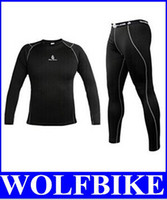 Wholesale Cycling Pants Jersey Set - WOLFBIKE Men Fleece Thermal Winter Bike Cycling Wear Jerseys Sportswear Clothing+Riding Bicycle Pants Tight Set Black new top sale free
