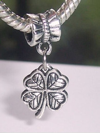$enCountryForm.capitalKeyWord Canada - Hot Sale ! 70 pcs Antique silver Lucky Four 4 Leaf Clover Good Luck Dangle Beads Fit European Charm Bracelet 24x10.5mm (170)