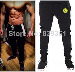 Wholesale Men Long Baggy Pants - New 2015 gym Golds Gym Fitness Long Pants Men Outdoor Casual Sweatpants Baggy Jogger Trousers Fashion Fitted gym trousers Bottoms