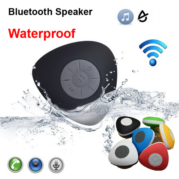 Newest Arrival Waterproof Bluetooth Speaker V2.1 Triangle Heart Shape Suction Cup Shower Car Bathroom Handsfree Call Portable Phone Speaker