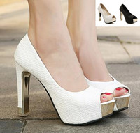 Wholesale High Top Platform Shoe - Sexy white black metal platform peep toe pumps 12CM top PU leather women shoes sexy high heels wedding shoes 2 colors size 35 to 39