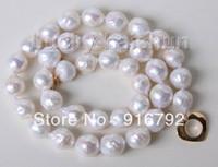 keshi perlas collar blanco al por mayor-gratis PP 17