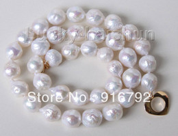 "Wholesale Keshi Pearl White - free P&P >>>>>17"" 11mm baroque white Reborn keshi pearls necklace filled gold clasp"