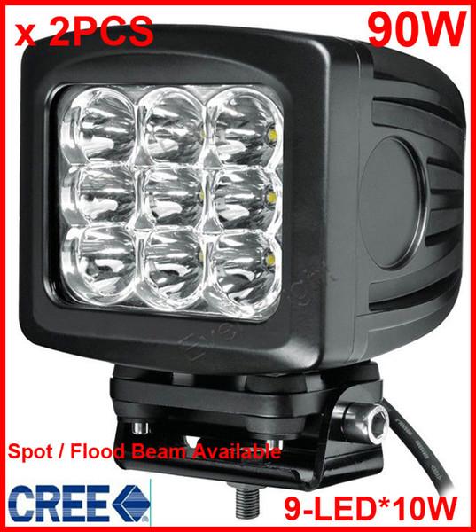 "2PCS 5.2"" 90W CREE 9-LED*(10W) Work Light Off-Road SUV ATV 4WD 4x4 Spot / Flood Beam 9000lm 9-32V IP67 JEEP Boat Truck Driving Fog Headlamps"