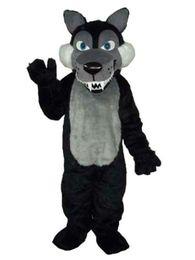 Lobo negro de peluche online-Long Wool Big Black Wolf New Plush Adult Mascot Costume envío gratis