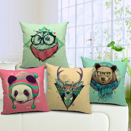 Wholesale Owl Handmade Pillow - Deer Owl Panda Bear Sofa Cushion Covers Animal PatternThrow Pillow Cases Linen Cotton Pillow Covers 45X45cm Wedding Decoration Free Shipping