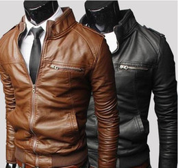 Wholesale Leather Jacket Xl Brown - Men's Horizontal zipper Slim washing PU Leather Leather motorcycle Jackets Coat Outerwear