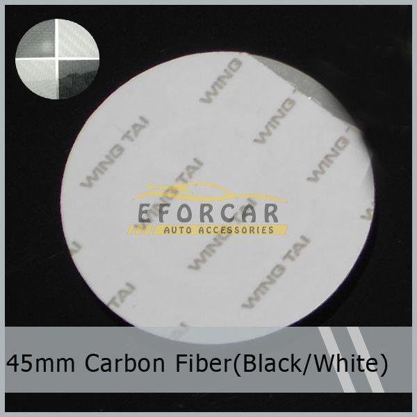 20 pz / lotto 45 mm autoadesivo in alluminio ruota distintivo emblema distintivo auto nero bianco in fibra di carbonio all'ingrosso spedizione gratuita