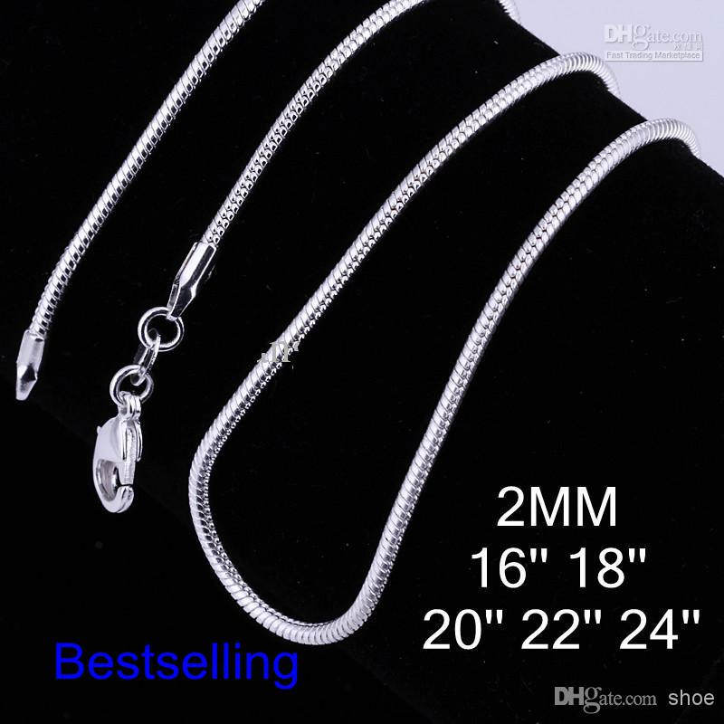 100PCS Silver plates 2mm Smooth Snake Chain Mixed Size 16-24inch 925 Sterling Necklace