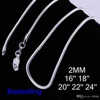 925 serpiente de plata de 2 mm 24 pulgadas al por mayor-100 UNIDS Placas de Plata 2mm Cadena Suave de Serpiente de Tamaño Mezclado 16-24 pulgadas Collar de 925 Sterling