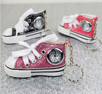 Wholesale China Children Shoe Wholesalers - New China Made Fashion 3D Canvas Shoes Watches With Keychains Metal Key Ring Watch For Men and Women Children Gift