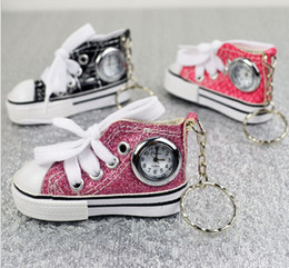 Wholesale Keychains Children Wholesale - New China Made Fashion 3D Canvas Shoes Watches With Keychains Metal Key Ring Watch For Men and Women Children Gift