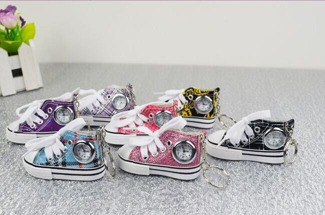 New China Made Fashion 3D Canvas Shoes Watches With Keychains Metal Key Ring Watch For Men and Women Children Gift