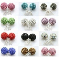 Wholesale Silver Plated Round Rhinestones Beads - 2017 hot 10Colors New 10MM Pave Disco Ball Round Beads Czech Crystal Studs Earrings Hip Hop