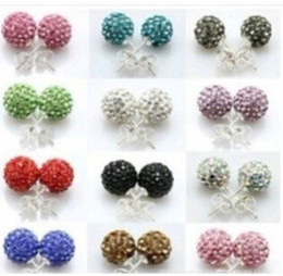 Wholesale Pave Earrings Studs - 30pairs lot 10Colors New 10MM Pave Disco Ball Round Beads Czech Crystal Studs Earrings Hip Hop