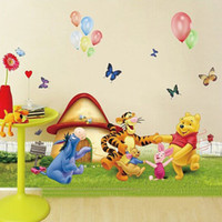 Wholesale Grass Wall Decals - Free Shipping Large Winnie the Pooh and Friends Dancing on the Grass Cartoon Wall Stickers for Kids Room Decor