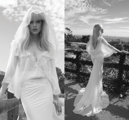 Wholesale Silk Wedding Dress V Neck - Inbal Dror Mermaid Garden Wedding Dresses V-Neck Chiffon Lace Appliques Beads Sequins Crystals Hat Cowl Backs Bridal Gowns Free Shipping!