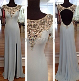 Wholesale Gorgeous Purple Beaded Silk Dress - Vintage Evening Dresses 2015 Open Back Jewel Neckline A Line Sexy Side Slit Luxury Crystal Beading Collar Gorgeous Party Dress