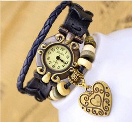 Wholesale Vintage Leather Band Bracelet Watch - Hot Style Retro Charms Watches Heart Hand-woven Bracelet Leather Band Vintage Quartz Movement Watches Women Wrist Watches Drop Free Shipping