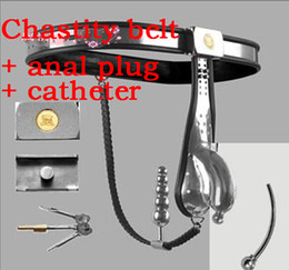 New 4th Generation Male Fully Adjustable T-type stainless steel and cord chastity belt + anal plug + catheter