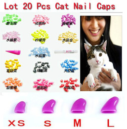 Wholesale Nail Caps Claws Cat - Free Shipping 20pcs Soft Cat Pet Nail Caps Claw Control Paws off + Adhesive Glue Size XS S M L 14 Colors Available