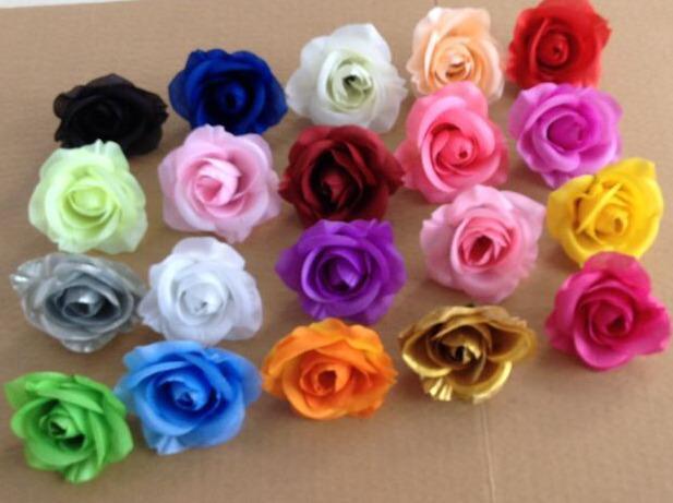Cabezas de flores de rosa de seda flores falsas Camellia Peony Dia. 7 cm para DIY Ramo de novia Boda Centros de mesa Artificial flores decorativas