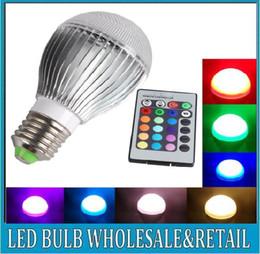Wholesale E27 Colour - [ E27 9w RGB LED Lamp ] 9W AC85-265V led Bulb Lamp with Remote Control multiple colour led lighting free shipping
