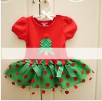 Wholesale Dress Baby Girl Polka - new years children costumes baby girls Christmas tree Bow Polka-dot tutu cake dress kids red short sleeve party dress 1733