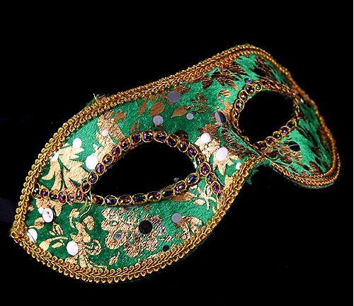 Maschera Mezza Faccia Halloween Maschera Masquerade maschili Venezia Venezia Italia a testa piatta e brillanti maschere di stoffa