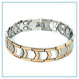 Wholesale Sports Magnetic Balance Bracelets - Healthy Men Jewelry Magnetic Bracelets Bangles Power Ion Balance Sport Power Therapy Magnets Titanium Steel Balance Bracelet