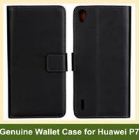 huawei ascend kapak kapağı toptan satış-Toptan Siyah Renk Hakiki Deri Katlanır Cüzdan Kapak Kılıfı Huawei Ascend P7 Ücretsiz Kargo