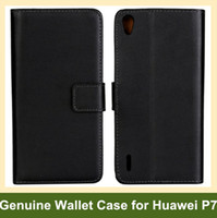 cubierta de la tapa del huawei al por mayor-Venta al por mayor de color negro de cuero genuino plegable billetera cubierta de la caja para Huawei Ascend P7 envío gratis