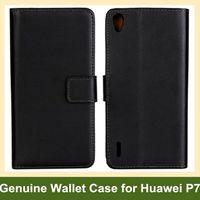Wholesale Orange P7 - Wholesale Black Color Genuine Leather Folding Wallet Flip Cover Case for Huawei Ascend P7 Free Shipping