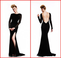 Wholesale Silk Maxi Evening Dress - 2015 Sexy Backless Long Sleeve Evening Dresses Bateau Sheer Beaded Black High Side Slit Mermaid Maxi Sweep Train Formal Dress Party Gown