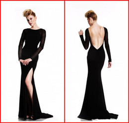 Wholesale Maxi Dress Long Satin - 2015 Sexy Backless Long Sleeve Evening Dresses Bateau Sheer Beaded Black High Side Slit Mermaid Maxi Sweep Train Formal Dress Party Gown