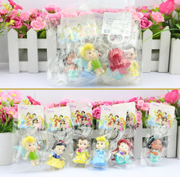 Wholesale Necklace Doll - 5sets High Quality PVC Princess Keychain Tinkerbell doll toy 6 pcs Collection Figure Key Chain for making necklaces Retail