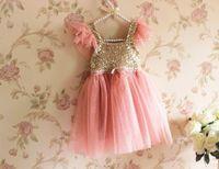 Wholesale Sequin Chiffon Kids Dress - Sequins Tulle Lace Party Dresses Kids girls summer pink white TUTU princess chiffon dress