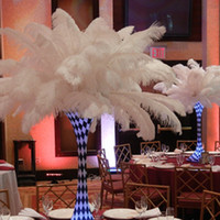 Wholesale Wholesale White Ostrich Feathers - new 18-20 inch(45-50cm) white Ostrich Feather plumes for wedding centerpiece wedding party event decor festive decoration Z134