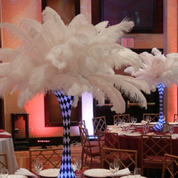 Wholesale Feather Flags - new 18-20 inch(45-50cm) white Ostrich Feather plumes for wedding centerpiece wedding party event decor festive decoration Z134