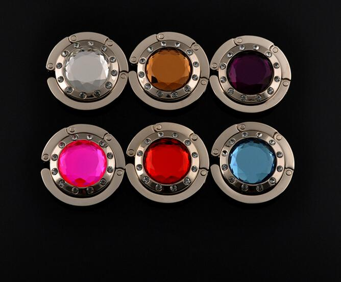 Moda Multifunzione Pieghevole Pieghevole in Metallo Acrilico a Mano borsa Borsa Borsa Gancio Gancio Titolare di Cristallo di Quarzo hanger Bag Mix di Colori