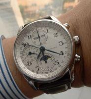 deri beyaz adam izle toptan satış-Sıcak satmak marka izle erkekler için mekanik otomatik saatler beyaz kadran deri kayış LON01
