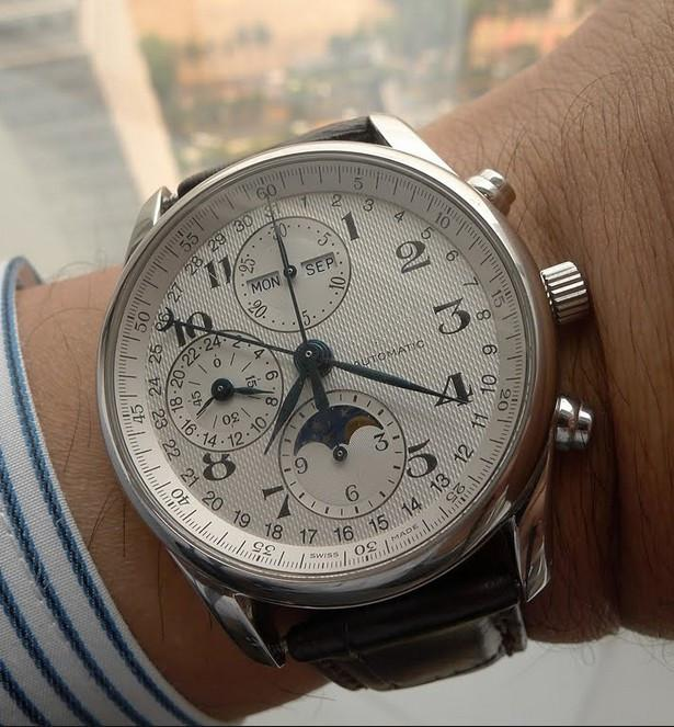 Hot sell Male watch mechanical automatic watches for Man white dial leather strap LON01