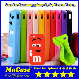 Wholesale Iphone Cover Case Chocolates - 2014 Cute 3D Cartoon M&M Chocolate Case Colorful Back Defender Rainbow Beans Cover for iPhone 4 4S 5 5S 5C with free shipping