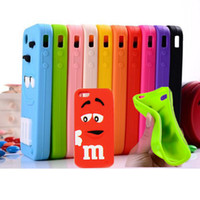 Wholesale Iphone 4s Case Rainbow - 3D Cartoon M&M Defender Rainbow Beans Smile Silicone Case for iPhone 4S 5S 5C 6 plus Samsung Galaxy S3 S4 S5 Note 3